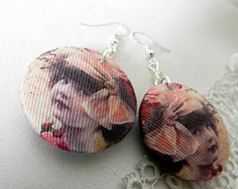 Fabric earrings, retro girl