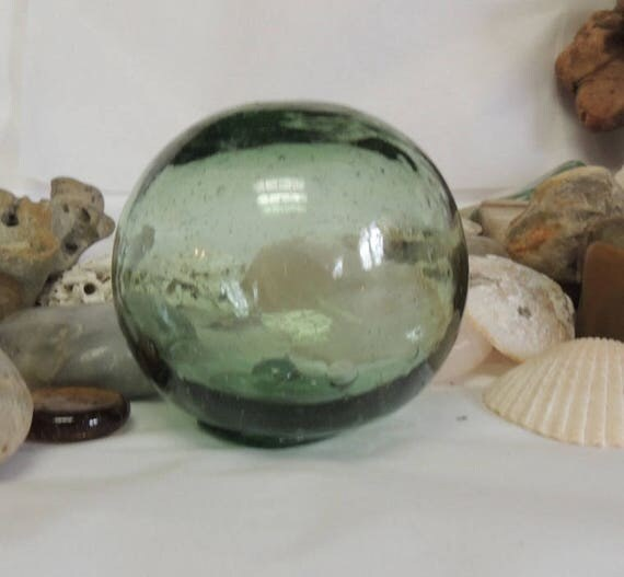 Vintage Japanese Glass Fishing Float 2.5 Inch.. Many Bubbles, Olive Green & Odd Shape  (#31)