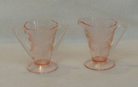 Vintage Paden City Pink Depression Glass Cream And Sugar.. Nora Bird AKA Peacock & Rose