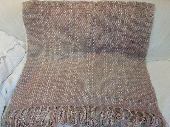 Vintage Woven Mohair Ombre Throw Blanket.. Rose, Grey & Cream.. HUGGE!