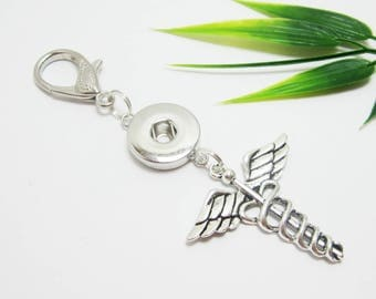 Caduceus Purse Pull, Snap Button Pull, Large Lobster Claw Clasp, Zipper Pull, Filigree Caduceus Charm 606