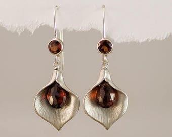SALE - Garnet Earrings - January Birthstone Earrings - Calla Lily Earrings - Silver Earrings - Nature Inspired Jewelry
