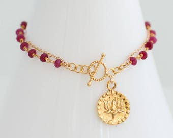 Red Ruby Bracelet - July Birthstone Bracelet - OM Lotus Flower Bracelet - Personalized Bracelet - Wire wrapped Toggle Bracelet