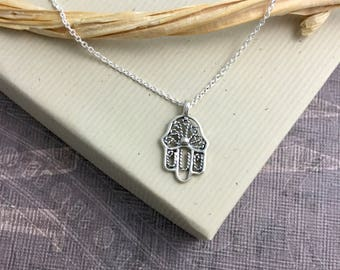Sterling silver hamsa hand necklace, Kabbalah necklace, filigree, protection jewelry, layering necklace, palm-shaped amulet, fatima N385S