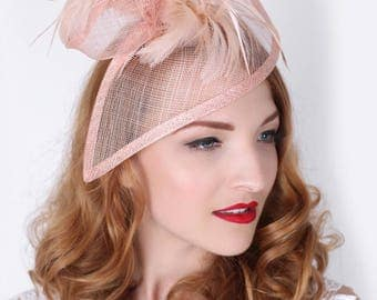 "Nude Pink Fascinator - ""Victoria"" Twist Mesh Fascinator Hat Headband with nude pink Flighty Feathers"