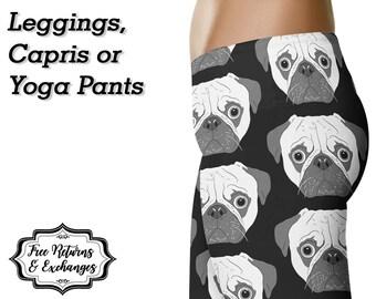Pug Leggings / Yoga Leggings / Dog Yoga Pants / Printed Leggings / Womens Clothing / Dog Mom / Dog Lover / Workout Leggings / Gift for Her