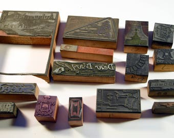 Vintage Letterpress Printing Blocks - Ornaments and Ads - Bulk 15 pc Lot