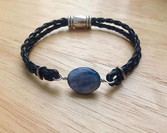 Braided Black Leather Bracelet with Kyanite Focal and Magnetic Barrel  Clasp
