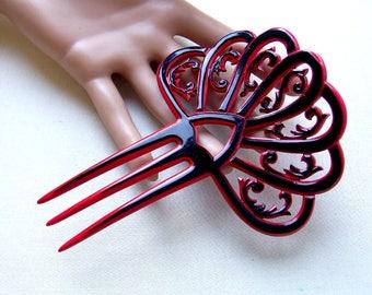 Art Deco Spanish style hair comb parti colour red black Spanish style hair accessory headdress headpiece decorative comb hair ornament