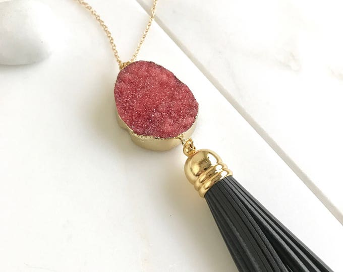 Tassel Necklace. Leather Tassel Necklace. Coral Druzy and Charcoal Grey Tassel Necklace. Long Tassel Necklace. Boho Tassel Jewelry.