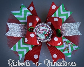 Christmas Bow, Christmas Hair Bow, Candy Cane Cutie Bow, Christmas Dress, Christmas Party Bow, Holiday Bow, Red and Green Bow,