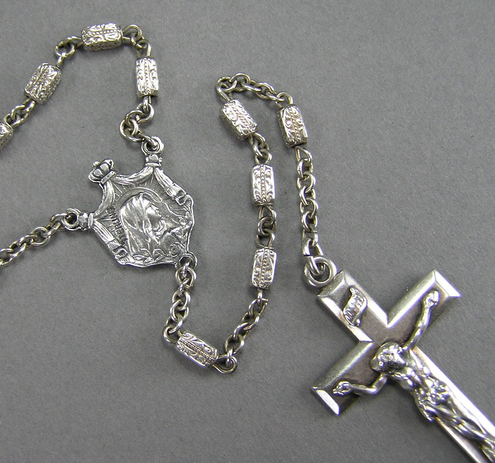 Antique Art Nouveau Sterling Rosary Arts And Crafts Era Signed
