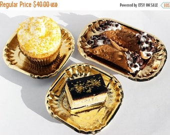 GLAM SALE Gold Foil Mini Plates, Gold Paper Plates, Wedding Dessert Plates, Hors d'oeuvres Plates, Gold Dessert Plates, Party Plates - Set o