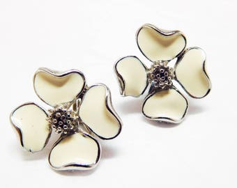 Apple Blossom Earrings White and Silver CORO mini clips Summer Fresh