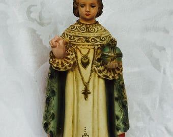 1940s Infant Jesus of Prague Chalkware Statue