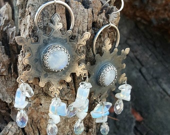 Ice Queen moonstone earrings