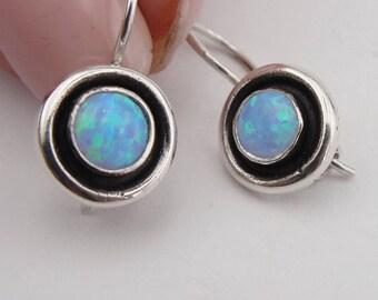 Opal Earrings, israelu jewelry ,Blue Stone Earrings, Fine 925 sterling silver round opal earrings, Hanging Earrings, Woman earrings(vs 146se
