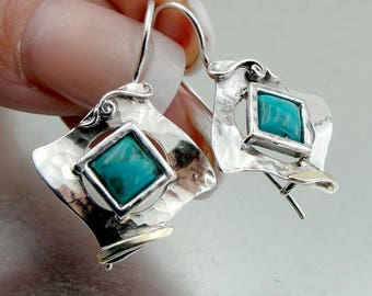 Sterling Silver 925 and 9K Yellow Gold earrings , Handcrafted square earrings,turquoise stone earrings,gift , christmas (ms 328e)