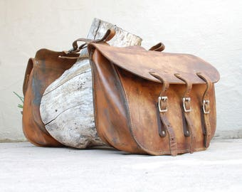 Vintage All Leather Distressed Cavalry Style Leather Saddlebags Motorcycle Saddlebags Bicycle Moped Saddlebags Classic Moto Biker Authentic