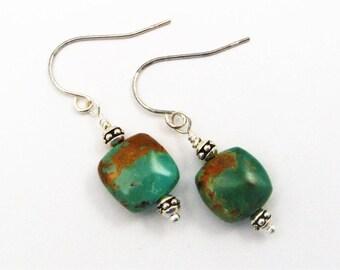 Genuine Turquoise Dangle Earrings - Sterling Silver Earwires