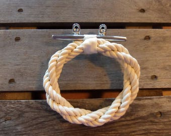 Cotton Rope Towel Ring With Stainless Steel Cleat Bathroom Hand Towel Ring Holder Rack Nautical Decor Beach Style