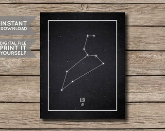 INSTANT DOWNLOAD - Leo Constellation Print / Printable Zodiac / Horoscope Constellation Print / Poster / Chalkboard Style - Digital File