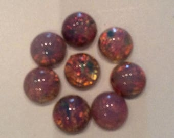 SPECIAL Vintage harlequin fire opal cabochon 7mm round Flat back QTY - 6