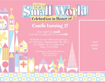 it's a small world birthday pink, purple and light blue color scheme party invitation with photo place and attraction sign