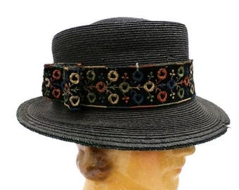 SAVE 20% Antique Straw Hat Small Brim Rare Early Teens 1911-15 Ladies Embroidered Ribbon band Med-L