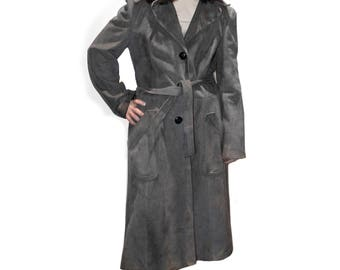 Vintage Gray Suede Coat - 70s suede coat