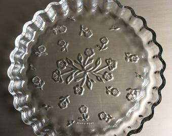 Savannah Clear Anchor Hocking Quiche Dish Clear Glass Floral Pie Pan ~ #J2102