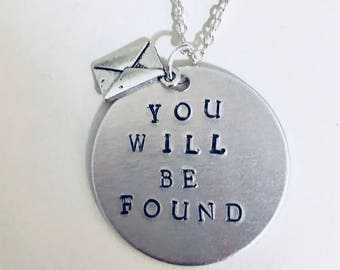 DEAR EVAN HANSEN Musical You Will Be Found Stamped Charm Necklace