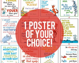 YOUR CHOICE of 1 Dr. Seuss Poster DIGITAL file.