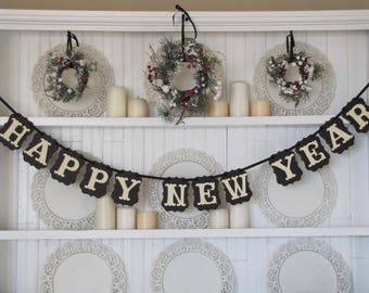 HAPPY NEW YEAR Banner, New Year Sign, New Year Party Decoration, New Year Photo Prop, Happy New Years Sign