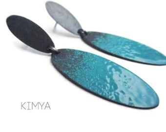 Turquoise Earrings - Enameled Earrings - Oxidized Earrings - Contemporary Earrings - Modern Earrings - Oval Earrings - Contemporary Jewelry