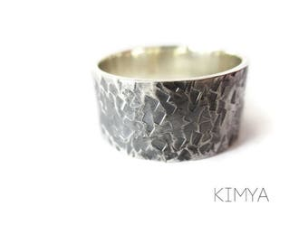 Hammered Ring - Printed Ring - Textured Ring - Rustic Silver Ring - Forged Ring - Wide Band Ring - Antique Silver Ring - Contemporary Ring