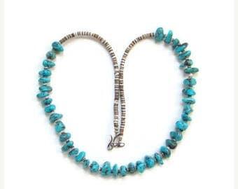 ON SALE Southwestern Turquoise Nugget Bead Heishi Choker Necklace Boho Bohemian Chic