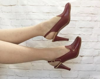 Vintage 70s Famolare Peeptoe Slingback High Heels Oxblood Red Leather Embroidered 7.5 - 8 Shoes Pumps Stilettos Sandals