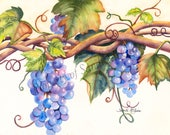 "Watercolor Print ""Grapes"" by Sandi McGuire"