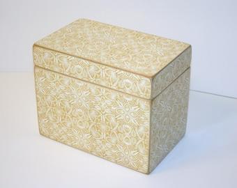 Yellow Recipe Box, Yellow Lace Recipe Box, 4x6 Wooden Recipe Box, Yellow and White Recipe Box, Wedding Guest Book Box, Keepsake Box