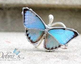 Blue Morpho Butterfly Wing Bracelet - Blue Morpho Portis Butterfly - Sterling Silver Cuff