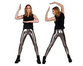 Men's Gun Metal Metallic Leggings, Silver Meggings, Glam Rock Stage Wear, 80's Heavy Metal Clothing, Spandex Pants, by LENA QUIST