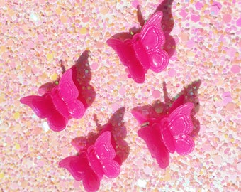 Fuchsia - 90's Butterfly Clips, 90's Hair Clips, 90's Accessories, Butterfly Clips, Pastel Grunge, Kawaii, 90's Vintage Barrette, 4pc Set