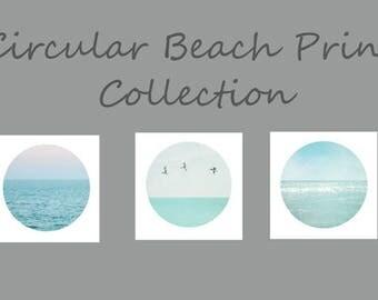 Circular Turquoise Beach Decor, Ocean Art Set of 3 Circular Beach Prints, Pale Turquoise Blue, Sea Green Coastal Decor, Calming Ocean Prints