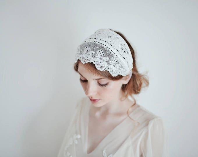 Bridal Lace Cap, Vintage Lace Headband, Bridal Boho Headband, Lace Headband, Wedding Headpiece, Up-cycled Folklore Costume