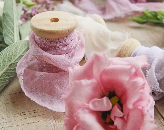 Chiffon Ribbon On Spool, Purple Ribbon Hand Dyed, 6.5 Yards Ribbon Wooden Spool, Bouquet Ribbon, Invitation Ribbon, White, Ivory, Blush Pink