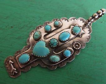 "Saguaro Cactus Sterling ""Beauty Heart"" Pendant - American turquoise, Sleeping Beauty, Carico Lake, Kingman, sterling silver"