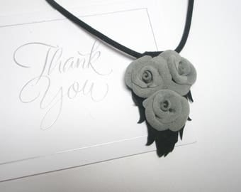 3rd anniversary gift - leather rose necklace -wedding rose pendant- Flower jewelry- Leather Rose Pendant