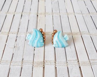 1950's Copper & Ceramic Fish Screw Back Earrings, Mid Century, Angel fish, Screw ons, Aqua blue, copper earrings, light blue, Pisces gift