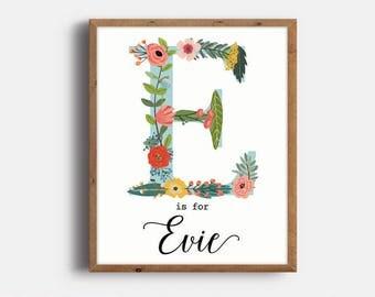 Monogram Art Nursery, Evie, Baby Name, Nursery Art, Nursery Name Printable, Baby Name Sign, Nursery Print, Baby Girl Nursery, Digital File
